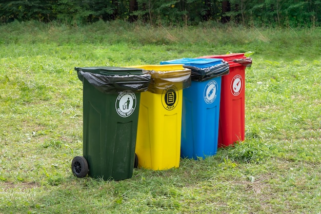 Colored containers for separate garbage collection in green lawn.