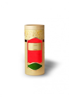 Colored cylindrical box of tea