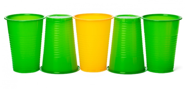 Colored disposable cups for drinks isolated on white