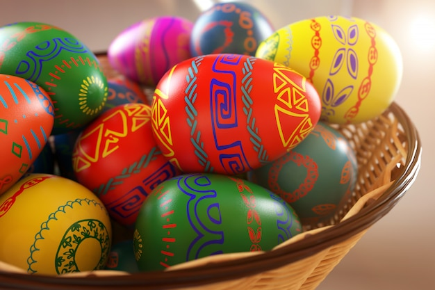 Colored easter eggs in a basket close-up. 3d rendering illustration.