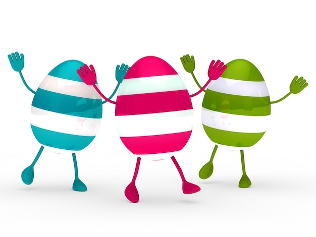 Colored eggs with hands and feet