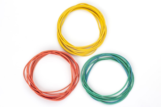 Colored elastic rubber for banknotes on a white