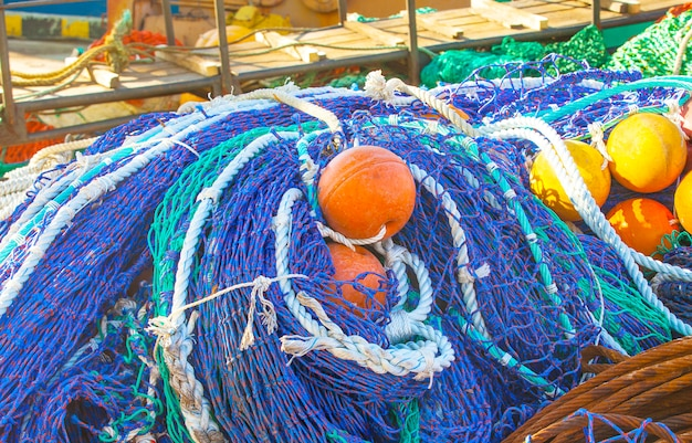 Colored fishing net with floats,