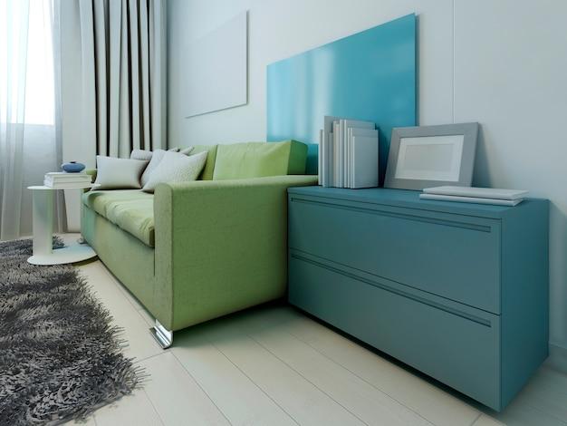 現代的なラウンジの色付きの家具。