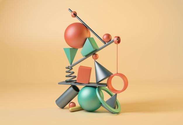 色付きの幾何学的形状。バランスの概念。 3dイラスト