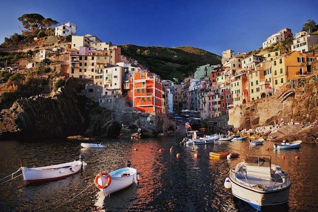 Colored houses by the sea boats moored by the sea cinque terre coast of italy manarola is a beautiful small town in the province of la spezia liguria