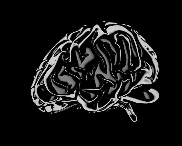 색깔있는 인간의 두뇌. 창의적인 개념입니다. 3d 그림입니다. 외딴. 클리핑 패스 포함