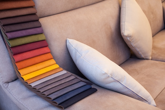 Colored leather on sofa
