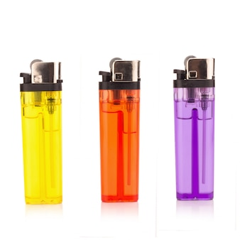 Colored lighters isolated on the white background