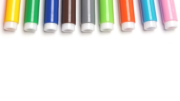 Colored markers isolated on the white space.