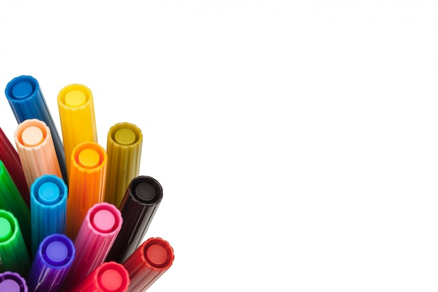 Colored markers isolated on white
