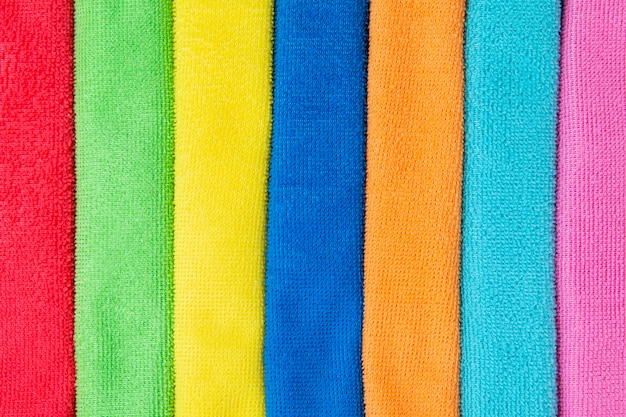 Colored microfiber cloths close up