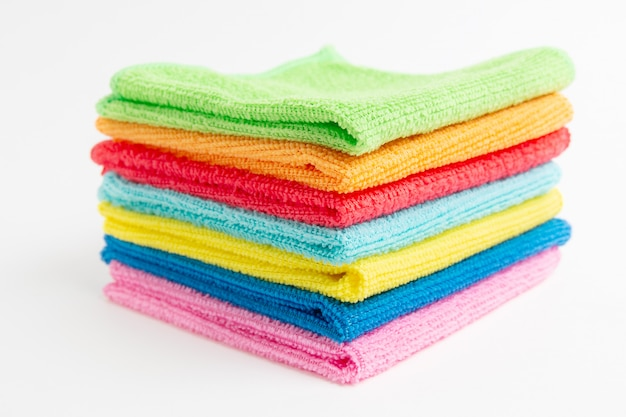 Colored microfiber cloths on a white
