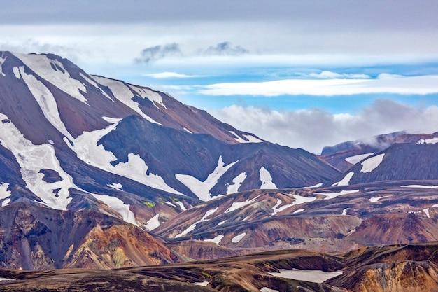 Landmannalaugar의 화산 풍경의 색깔 산