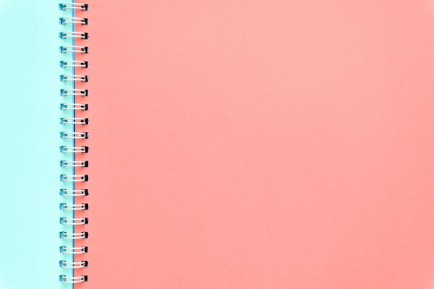 Colored notebook pages. minimal concept, flat lay background.