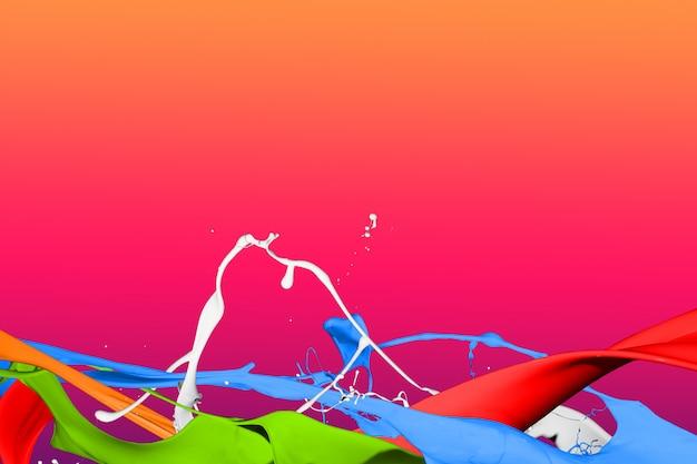 淡色のペンキ飛沫分離に赤い背景