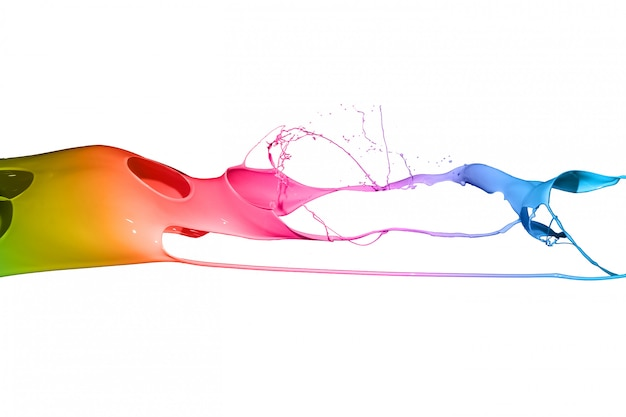 Colored paint splashes isolated on white background.