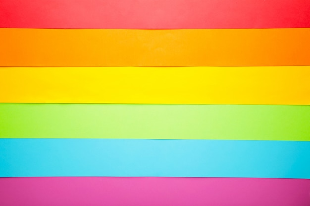 Colored paper background of lgbt pride concept for design. top view