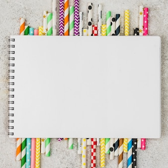 Colored paper straws notepad copy space