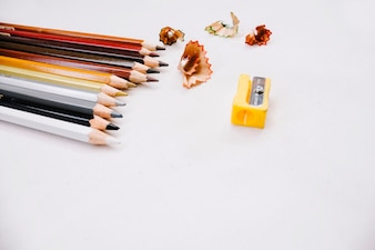 Colored pencils and sharpener
