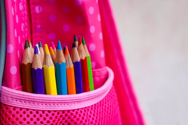 Colored pencils in backpack