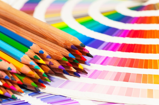 Colored pencils and color chart of all colors