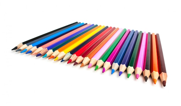 Colored pencils isolated on a white