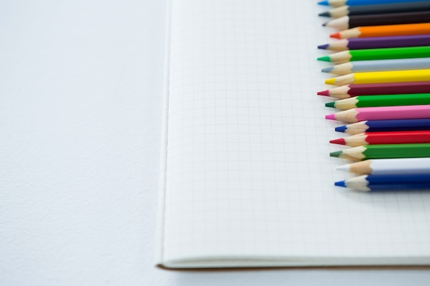Colored pencils kept on the book