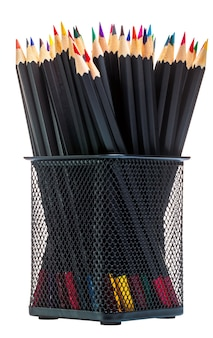 Colored pencils for painting in metal square office rack on isolated white background