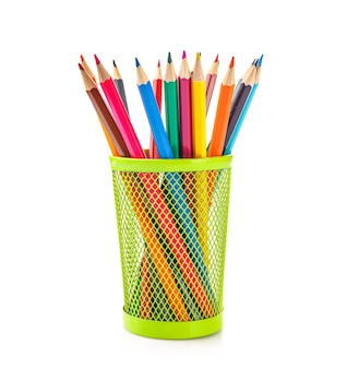 Colored pencils in pencil case isolated on white