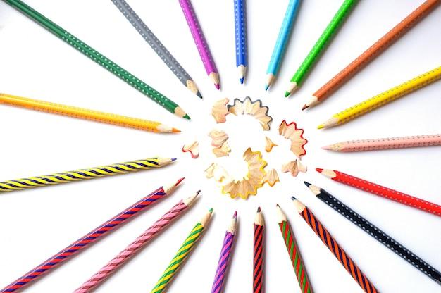 Colored pencils round frame