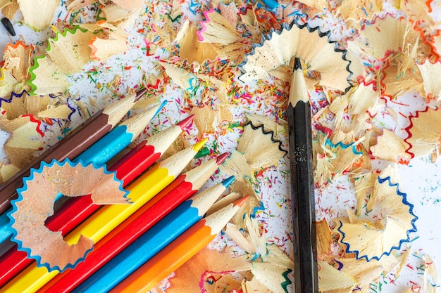 Colored pencils and shavings from pencils