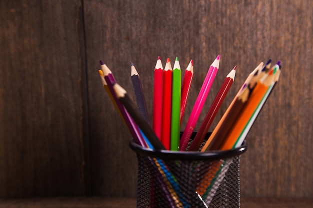 Colored pencils in studio
