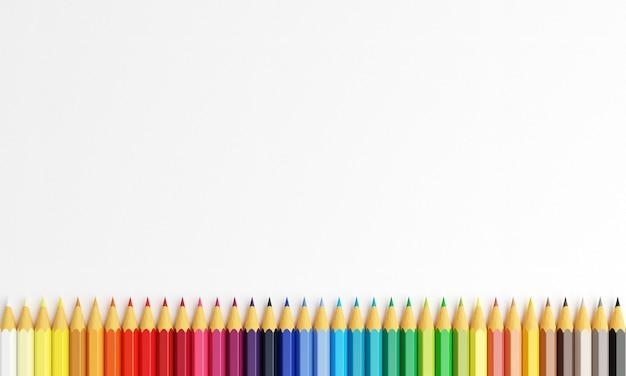 복사 공간 색연필입니다. 흰색 바탕에 멀티 컬러 연필입니다.