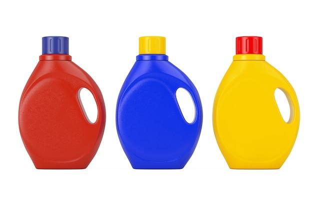 흰색 바탕에 당신의 디자인을 위한 빈 공간이 있는 컬러 플라스틱 세제 용기 병. 3d 렌더링
