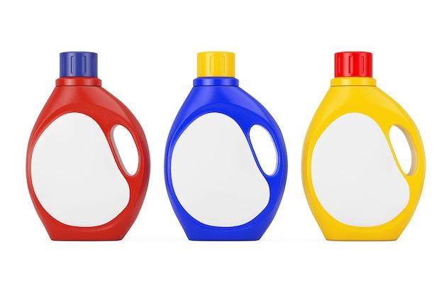 흰색 바탕에 당신의 디자인을 위한 빈 공간 레이블이 있는 컬러 플라스틱 세제 용기 병. 3d 렌더링