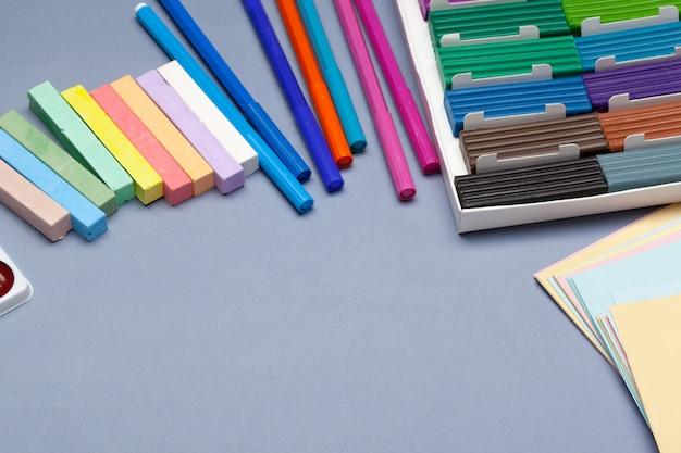 Colored plasticine for molding in box. studio photo
