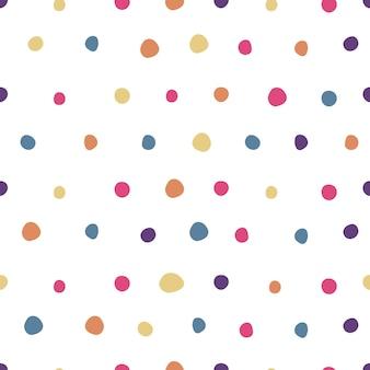 色付きの水玉模様のシームレスパターン。かわいい壁紙。生地、テキスタイルプリント、ラッピングのシンプルなデザイン。ベクトルイラスト