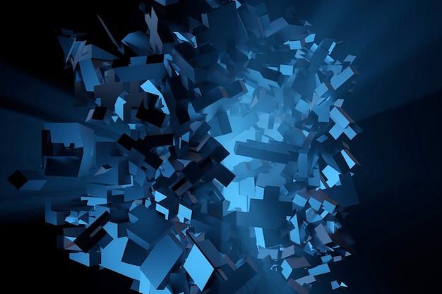 Взрыв цветного порошка. абстрактная пыль крупным планом на фоне. красочный взрыв. фон кубиков