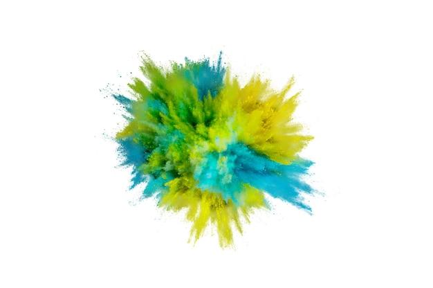 Взрыв цветного порошка. абстрактная пыль крупным планом на фоне. красочный взрыв. краска холи