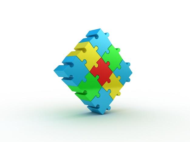 Цветная головоломка на белом. 3d иллюстрации