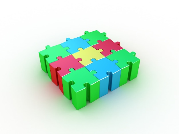 Colored puzzle on white. 3d illustration