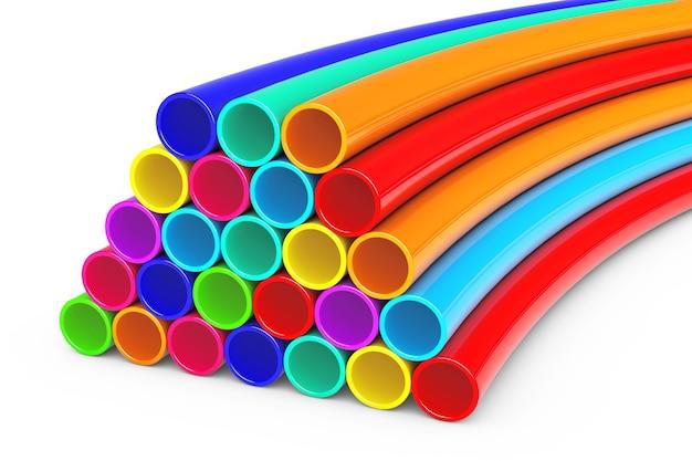 Цветные блестящие пластиковые трубки на белом фоне. 3d-рендеринг.