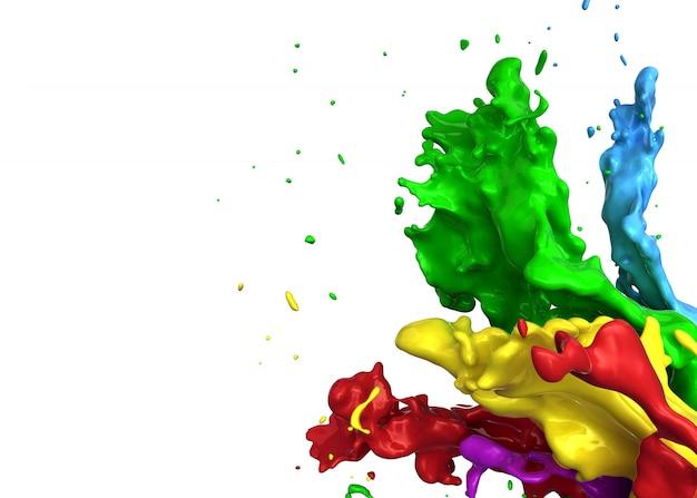 色の水しぶき-3 dレンダリング