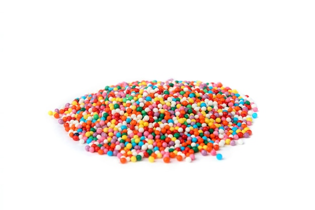 Colored sprinkles isolated on white background.