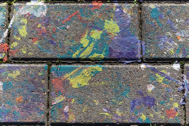 Colored stains of paint on a slab