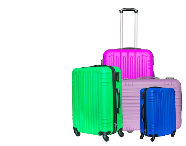 The colored suitcases. close up