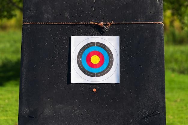 Цветная мишень со стрелками на фоне мишени для стрельбы из лука