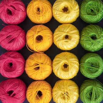 Colored threads for knitting background