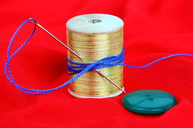 Colored threads with needles for embroidery